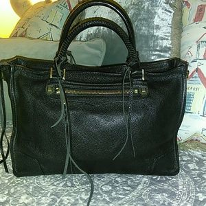 REBECCA MINKOFF SOFT BLACK LEATHER SATCHEL BAG